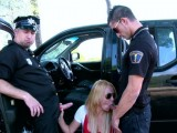 Sexy driver fucked by two cops